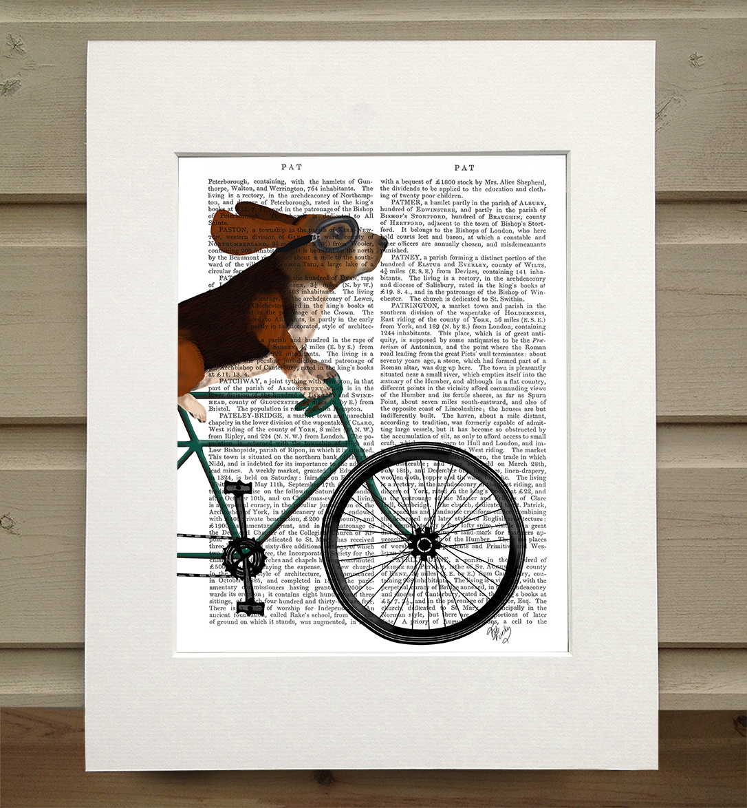 Basset Hound on Bicycle, Book Print