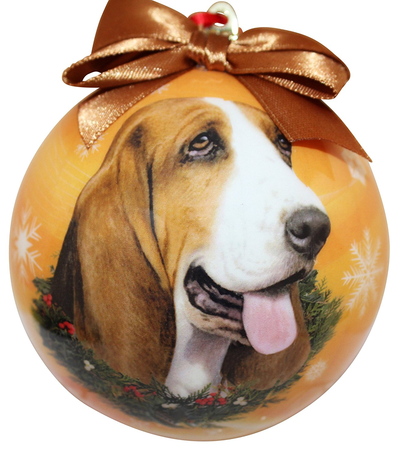 Basset Hound Christmas Ornament Shatter Proof Ball
