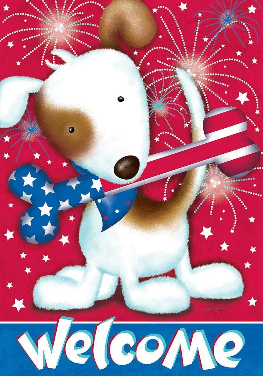 Festive Fido Fourth of July House Flag Patriotic Dog Fireworks