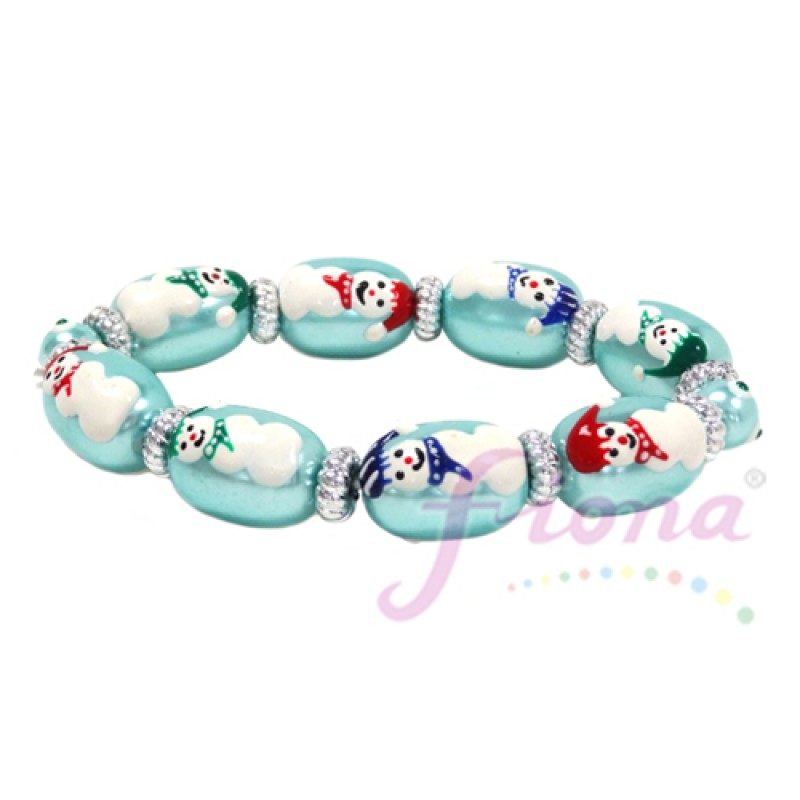 Christmas Pearlized Hand-Painted Bracelet-Pearl Red/Blue