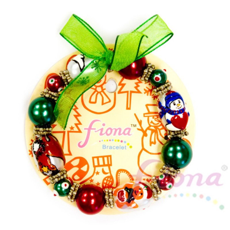 ,Fine Painted Christmas Bracelet- Pearl Gingerbread Man,