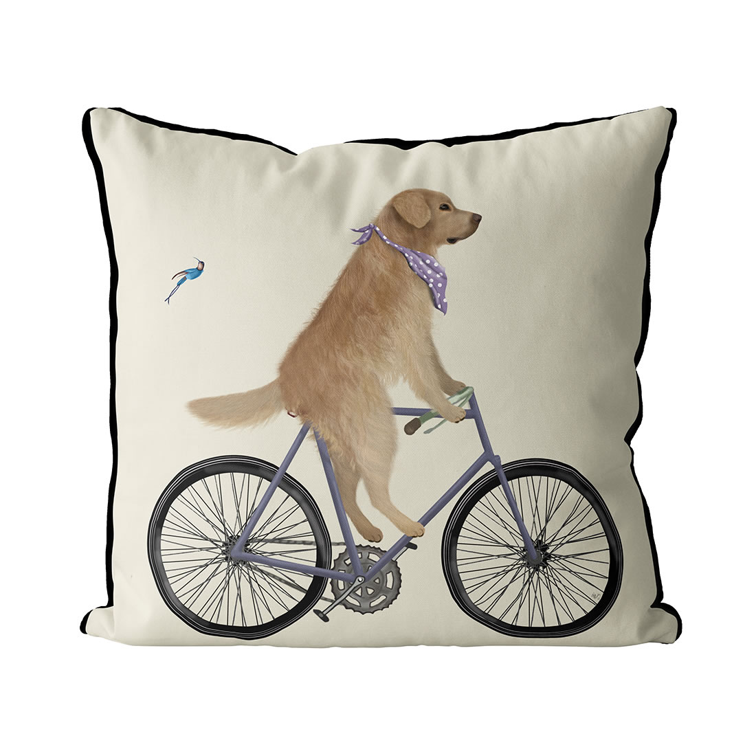 Golden Retriever on Bicycle, Cream
