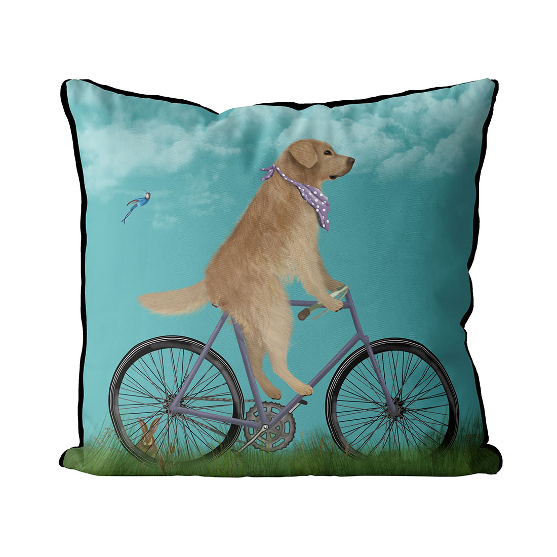 Golden Retriever on Bicycle, Sky Pillow
