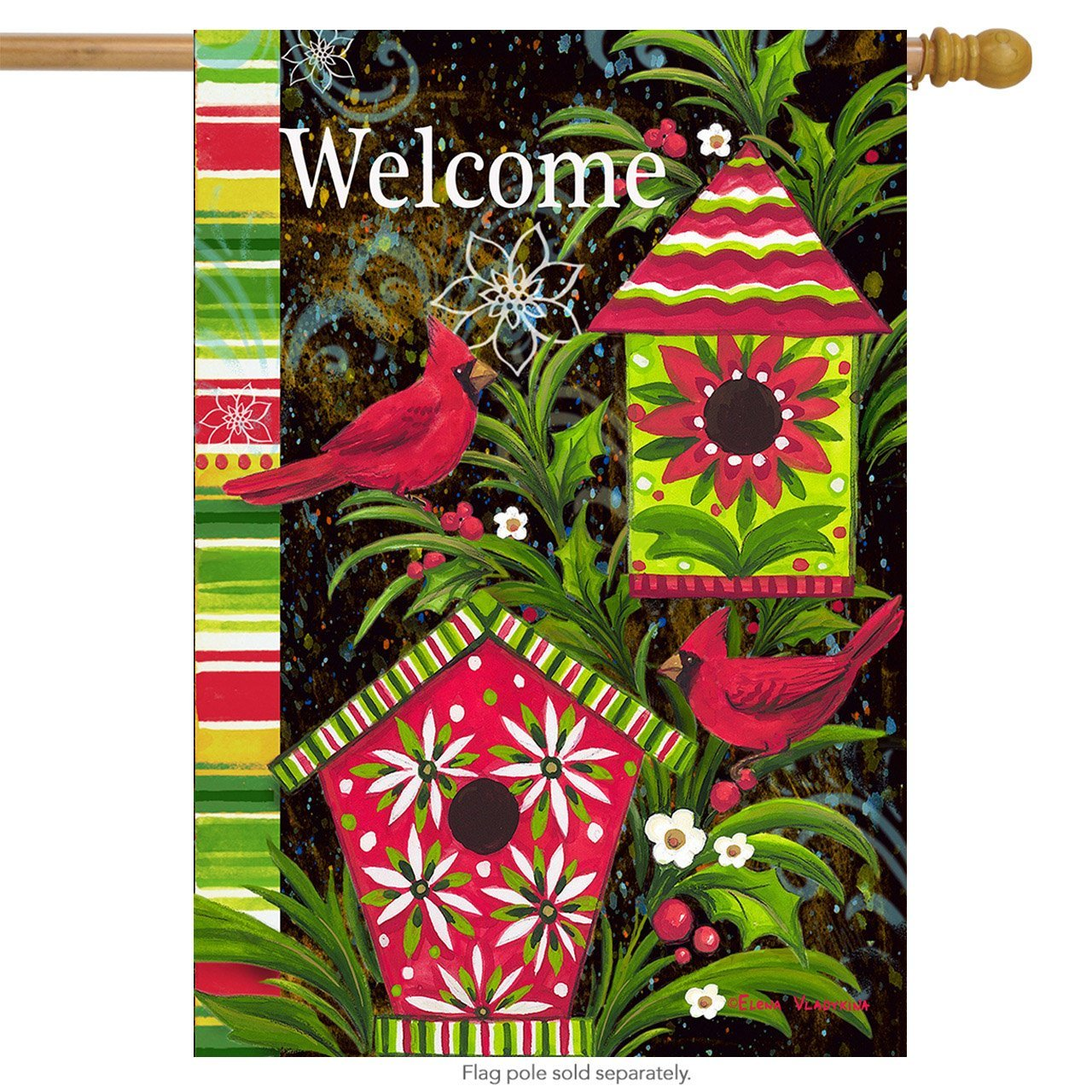 Birdhouse Christmas House Flag Welcome Cardinals Holiday
