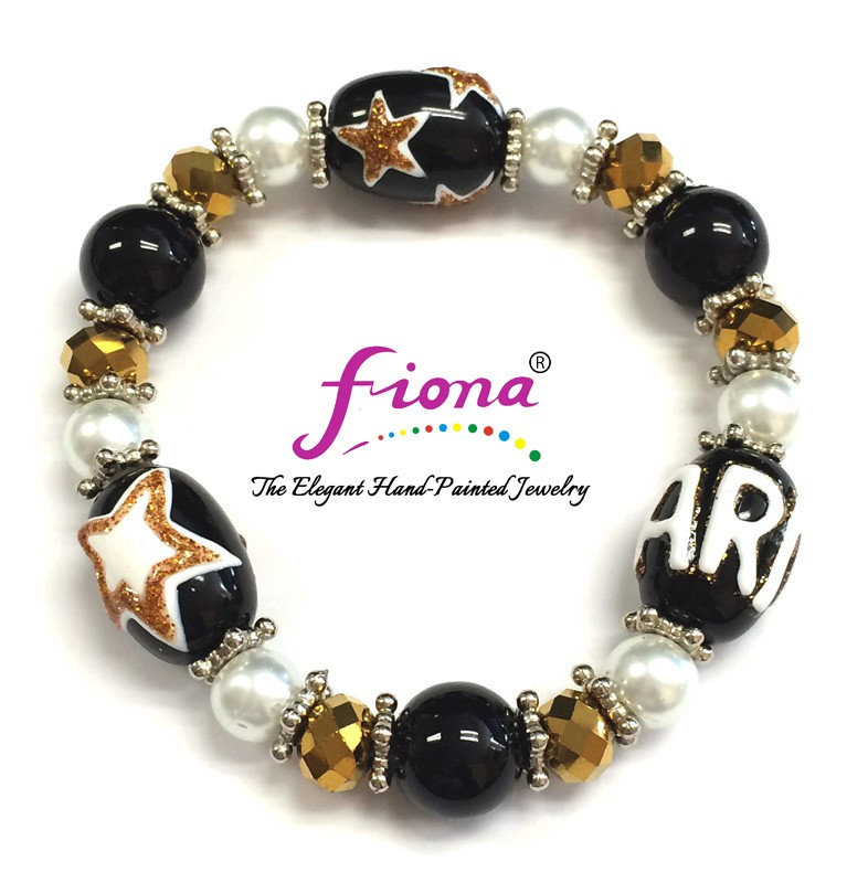 Army Bracelet - Black & Gold, Stars, ARMY