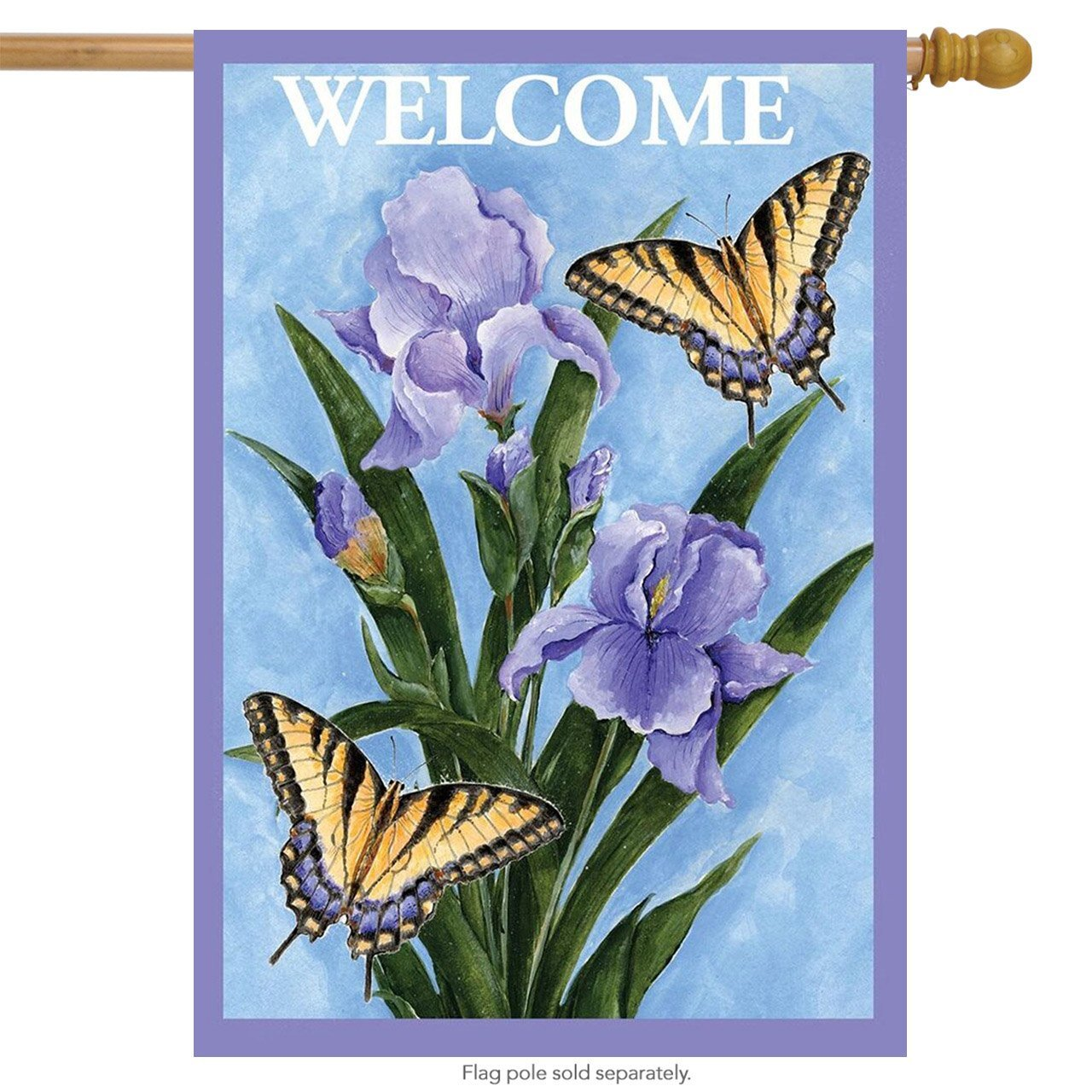"Butterflies & Irises Spring House Flag Welcome Floral 28"" x 40"""