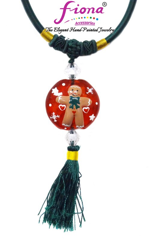 Painted Christmas Gingerbread Man Necklace with Tassel