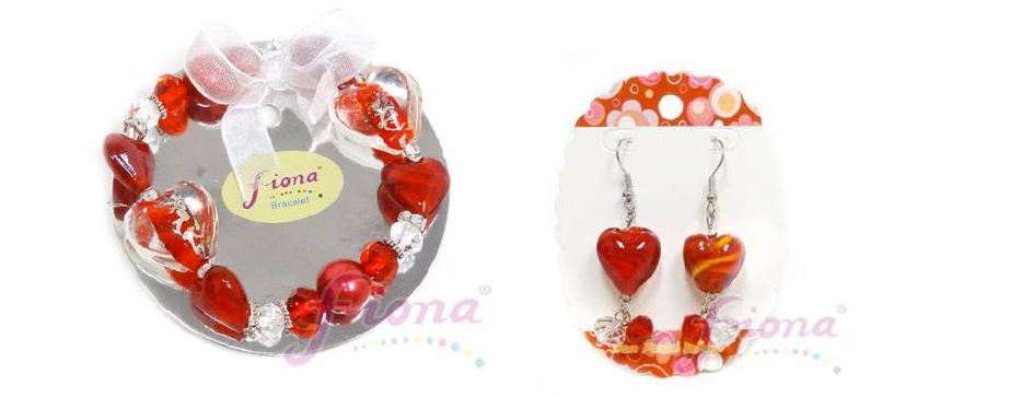 PUP10-4 Heart Murano Glass & Crystal Stretch Bracelet